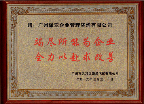 通过泽亚管理咨询的辅导下,盛昌的管理能力大幅提升